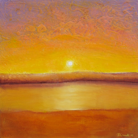 Gold Sun Contemporary Landscape Painting