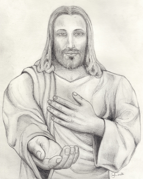 Pencil drawing of jesus offering his hand