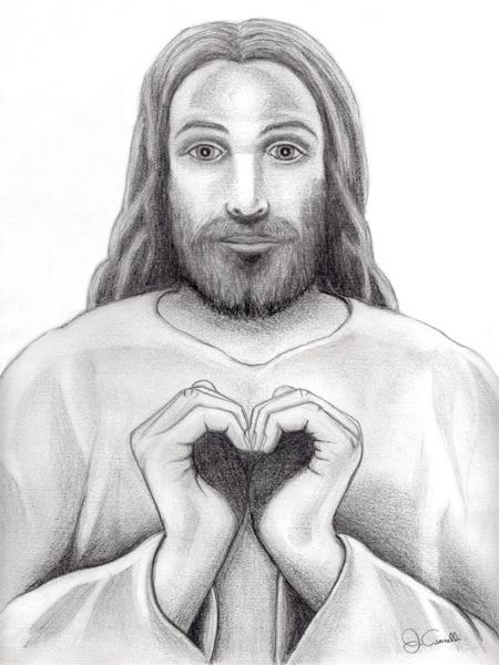 Pencil Drawing Of Jesus Making A Heart Spiritual Art Wellness