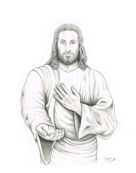 Jesus Offering His Hand Pencil Drawing of Jesus Christ by Jaison Cianelli